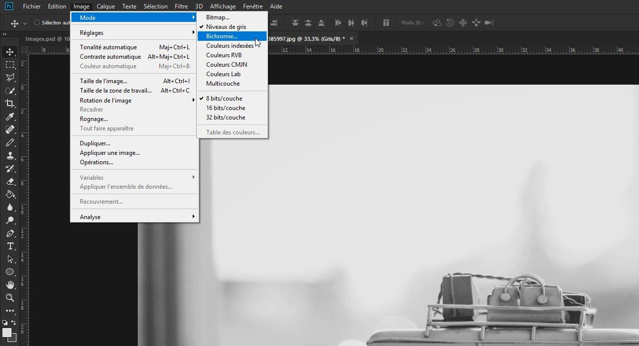 Si vous cliquez sur Image puis sur Mode, vous trouverez directement le mode  Bichromie. Pour les images en couleur, cependant, cette option est  généralement ... 579e1bbd7ab