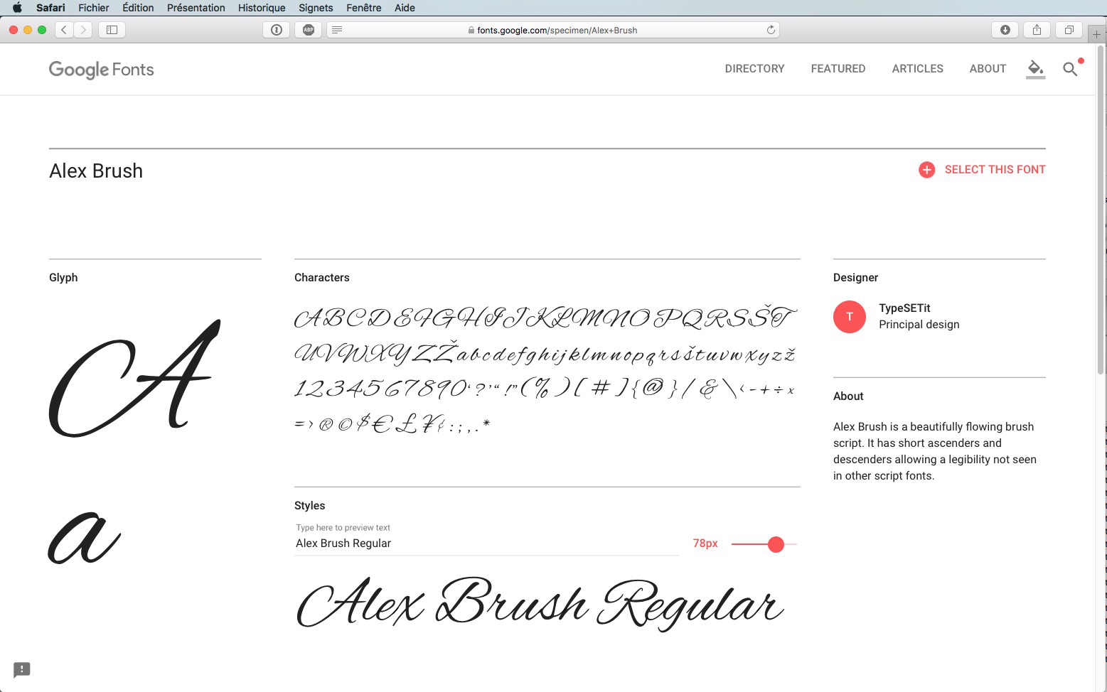 Script-Font Alex Brush Regular