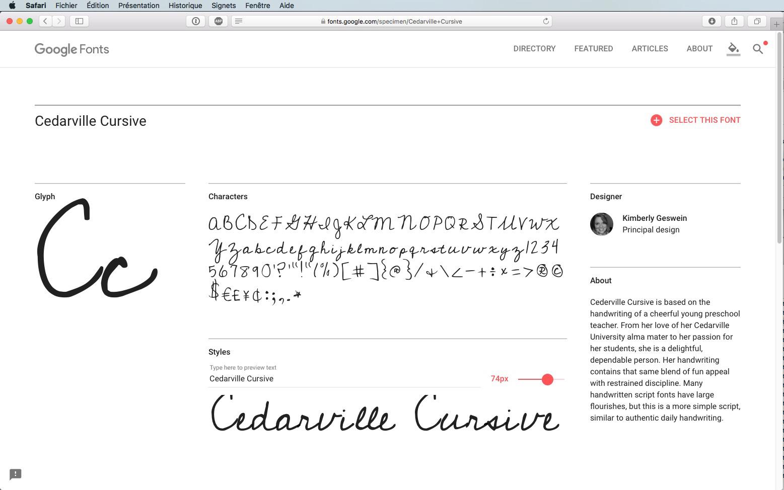 Script-Font Cedarville Cursive